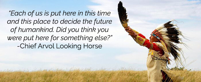 'Each of us is put here in this time and this place to decide the future of humankind. Did you think you were put here for something else?' - Chief Arvol Looking Horse